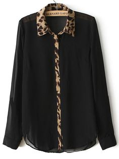 To find out about the Black Long Sleeve Contrast Leopard Lapel Blouse at SHEIN, part of our latest Blouses ready to shop online today! Love Fashion, Trendy Fashion, Womens Fashion, Blouse Styles, Blouse Designs, Moda Xl, Hijab Fashion, Fashion Outfits, Looks Black