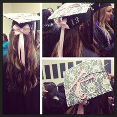 Graduation Hat Designs: love the bow on the back! Maybe a red and black bow for school colors and without the initial Graduation 2016, Graduation Cap Designs, Graduation Cap Decoration, Nursing Graduation, Graduation Pictures, Graduation Gifts, Senior Pictures, Grad Hat, Cap Decorations