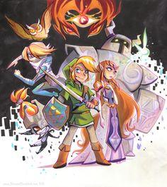 THANK YOU FOR MY CHILDHOOD MR. SATORU IWATA • briannedrouhard:   Zelda art, old and new!