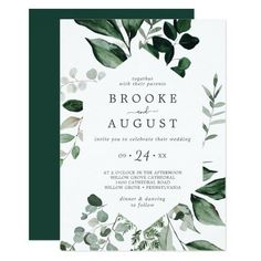 Emerald Greenery Casual Wedding Invite with dark green moody watercolor leaves and eucalyptus with a modern woodland boho feel. Click to customize with your personalized details today. Casual Wedding Invitations, Beautiful Wedding Invitations, Wedding Invitation Sets, Custom Invitations, Invitation Design, Elegant Wedding, Fall Wedding, Rustic Wedding, Invite