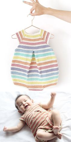 Free Knitting Pattern for Rainbow Romper - Striped baby onesie. Sizes New born, 1-3 months, 3-6 months, 6-12 months, 12-24 months. Designed by Marta Porcel. Sport weight. Available in English and Spanish. Pictured projects by designer and atti.