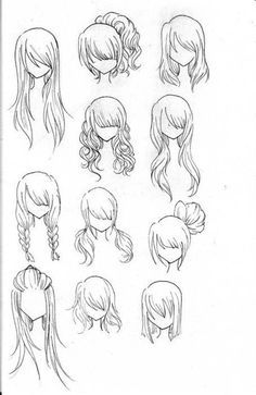 many different hair style sketches