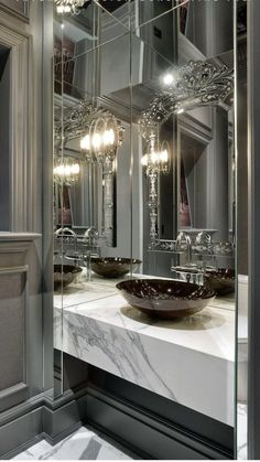 transitional powder room - I like the glossy grey molding work and the white/grey countertop and mirrors - I hate the sink bwc lavabo Dream Bathrooms, Beautiful Bathrooms, Modern Bathroom, Master Bathroom, Bathroom Vintage, Beautiful Mirrors, Luxury Bathrooms, Bathroom Sinks, Small Bathrooms