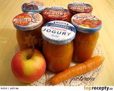 Přesnídávka jablečno-mrkvovo-broskvová Sausage, Jar, Food, Author, Diet, Sausages, Essen, Meals, Yemek