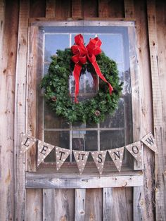 LET IT SNOWGlittered Burlap Banner Pennant Bunting by funkyshique, $28.00