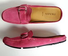 $425 Prada Driving Shoes 37 Deep Pink Suede Slip On Shoes  *LOVELY* SIZE 7 #PRADA #LoafersMoccasins