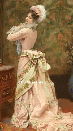 Victorian lady in dress with pink rose on sash. Victorian Paintings, Victorian Art, Victorian Women, Old Paintings, Beautiful Paintings, Edwardian Fashion, Vintage Fashion, Classy Fashion, Modest Fashion