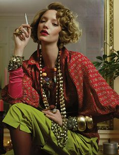 Loulou de la Falaise in YSL, Vogue 1970