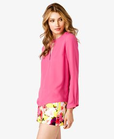 V-Cutout Georgette Top   FOREVER 21 - 2021210700