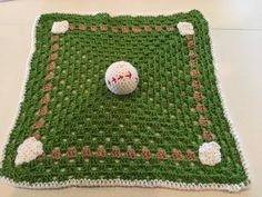 Baby Boy Blanket  Crochet Baseball Blanket by LittleLuvinStitches