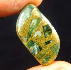 10 Cts. NATURAL COPPER SERAPHINITE LOOSE CAB GEMSTONE (T994) #NagmaGems