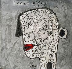 """Alexandra Huber """"Inner Eyes"""" approximately 6"""" x 6"""", on paper"""