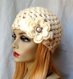 VENDITA uncinetto Womens cappello, Beanie, crema, molto morbido cappello grosso, nuziale, nozze fiore, nastro, cancro, caldo, Teens, inverno, cappello da sci, JE505B2