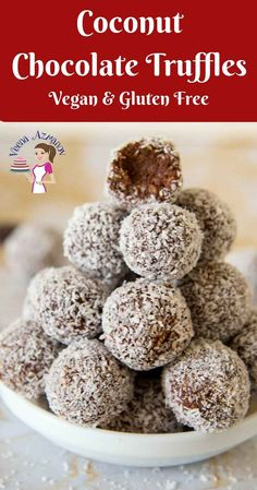 Pinterest optimized image for Coconut Chocolate Truffles. These coconut chocolate truffles are a treat any time of the year. This simple, easy and effortless recipe made with coconut cream and rich dark chocolate then coated in crisp desiccated coconut that just melts in the mouth. These made perfect valentine or mothers days treats but also perfect holiday gifts to give to family and friends.