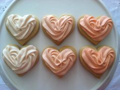 Sweet Heart Sugar Cookies with Ombre Peach Ruffled Buttercream Frosting