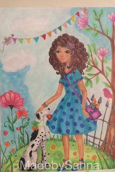 Girl and her dog. Original spring and Summer #decoration Made by #lumisadesign with #copicmarkers #Illustration #drawing, #art. Illustrative #artwork/ #handmade #girl #dog #spring #summer #flowers #homedecor