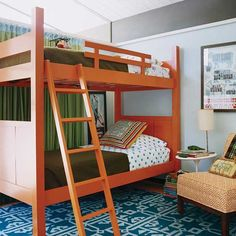 Bunk Beds 19 30 Fresh Space Saving Bunk Beds Ideas For Your Home --Orange, turquoise, warm green(s)