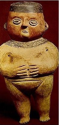 Chancay ceramicists. It represents a largely nude female standing figure. Frontal poses such as this seem to characterize much of the effigy ware of the Late Intermediate Period.