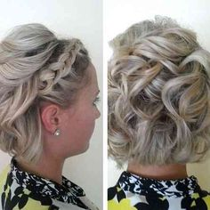 bridesmaid hair curly bob with a lace braid Short Hair Updo, Short Bob Hairstyles, Short Hair Cuts, Curly Hair Styles, Prom Hairstyles, Pixie Cuts, Medium Hairstyles, Wedding Hairstyles For Short Hair, Updo Curly