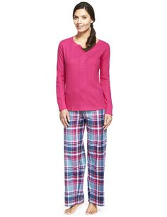 Pure Cotton Henley Neck Checked Pyjamas