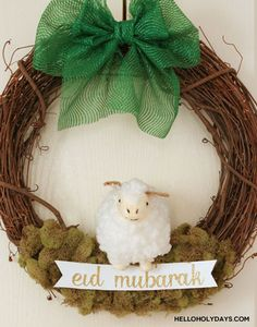 Eid al Adha Sheep Wreath by Hello Holy Days! Eid Crafts, Ramadan Crafts, Ramadan Decorations, Diy And Crafts, Happy Eid Mubarak, Eid Ul Azha Mubarak, Diy Eid Gifts, Eid Pics, Banner Shapes