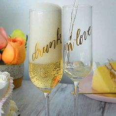 """""""Not drunk in love"""" These perfect flutes for your champagne toast. By Laura Hooper Calligraphy"""