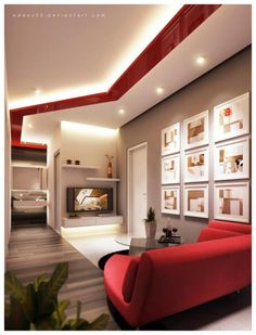 Modern Living Room Design Ideas With Red And White Color Schemes Via Redesign