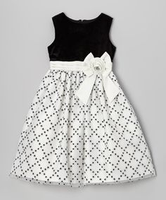 Look at this Jayne Copeland Black & White Glitter Diamond Dress - Girls on today!This frock is all dressed up and has everywhere to go. Coming in an easy-to-move-in silhouette with a full skirt, it can get on and to the dance floor in no time. Kids Party Wear Dresses, Little Girl Dresses, Girls Dresses, Baby Frocks Designs, Kids Frocks Design, Baby Girl Dress Patterns, Frocks For Girls, Frock Design, Toddler Dress