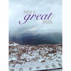 Under the Oaks blog: Have a great week. #denver #colorado #pikespeak