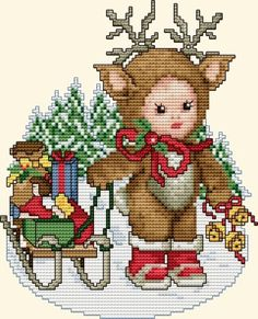 "Ellen Maurer-Stroh ""Reindeer Baby"" ~ Saved from Xmas Cross Stitch, Cross Stitch For Kids, Cross Stitch Love, Cross Stitch Animals, Cross Stitch Kits, Cross Stitch Charts, Cross Stitch Designs, Cross Stitching, Cross Stitch Embroidery"
