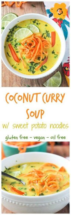 Coconut Curry Soup w/ Sweet Potato Noodles - This flavorful dairy free soup can be made in just about 30 minutes! Comforting and spicy, it will warm you from the inside out. And it'll make you darn happy too - just look at those beautiful colors! Plus, we're putting sweet potato noodles in it - super fun to make, super delicious to eat! #vegan #vegetarian #soup #curry #dairyfree #30minutemeals #weeknightmeal via @veggieinspired