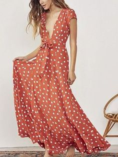 9010113de184f Orange Polka Dot Plunge Tie Waist Thigh Split Front Maxi Dress - Choies.com