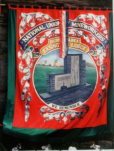 May 2020 - Front of NUM Easington Lodge banner. Illustration depicting Easington Colliery Disaster memorial, entitled 'We Remember'. Photo Number: 64200 From the Beamish Museum Photo Archive. Easington Colliery, Research Images, North East England, Anarchism, Coal Mining, We Remember, Edwardian Era, Historical Pictures, Memory Books