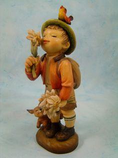 Adorable Anri Ferrandiz Hand Carved Edelweiss Boy with Flowers Figurine | eBay