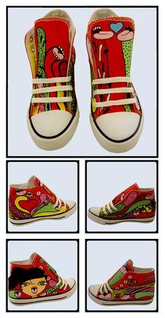 """Zapatillas pintadas a mano modelo """"Hambre Loca"""" Compralas en http://pnitas.es/shop/zapatillas-2/hambre-loca/  Handpainted sneakers model """" Hambre loca"""" Buy them at http://pnitas.es/en/shop/sneakers/sneakers-modelo-crazy-hungry/"""