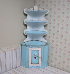 Miniature Dollhouse Furniture Corner Cabinet hand painted 1 inch scale