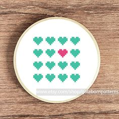 Hearts mint - PDF Counted cross stitch pattern - Modern cross stitch