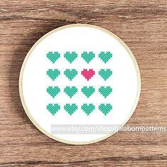 Hearts mint - PDF Counted cross stitch pattern - Modern cross stitch