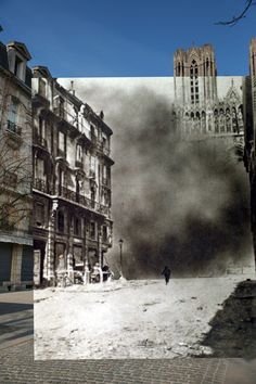 Rheims Cathedral in Rheims, France is swallowed by a cloud of smoke during a bombardment in 1917. 1917 photo by Photo12/UIG/Getty Images. 2014 photo by Peter Macdiarmid/Getty Images