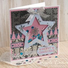 Star Shaker Christmas Card - Dovecraft Premium Magic & Sparkle Collection and First Edition Dies by design team member Angela
