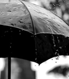 Pouring rain | winter | wet | water droplets | umbrella | black and white photography | monsoon | take cover | puddles | soaked | www.republicofyou...