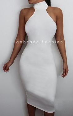 White Turtle Neck Bodycon Dress Sleeveless Midi Sexy Elegant Stretchy Kim Kardashian Replica