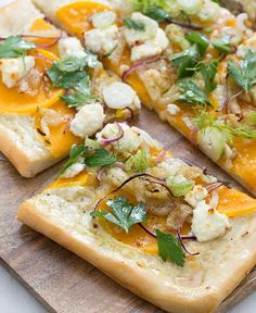 A fall twist on pizza: delicious butternut squash and creamy goat cheese.