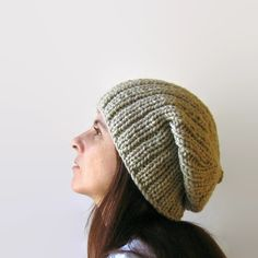 Beanie Knitted in Beige Wool - pinned by pin4etsy.com