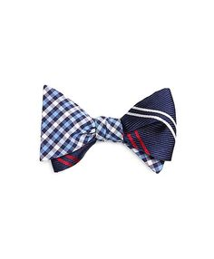 Check and Tonal Stripe Reversible Bow Tie - Brooks Brothers