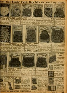 """""""Sears Roebuck 1912, Catalog no. 124. Fabric Bags."""" Fabric purses with kiss-clasps. Well that might work too!"""
