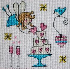 Cross Stitch Fairy Wedding Card