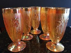 Jeanette Iris & Herringbone 5 Marigold Iridescent Carnival Glass Footed Tumblers #Jeanetteglass