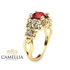 Floral Design Ruby Engagement Ring 14K Yellow by CamelliaJewelry