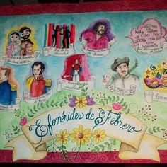 Efemérides Venezolanas de Febrero.  #misdiseños #mitrabajo #misdibujos #paraduradelniño #candelaria #antoniojosédesucre #juanvicentetorrealba #carnaval #diadelajuventud #Venezuela #efemérides #efeméridesdefebrero #escuela #colegio #carteleras #teacher #class #clases.